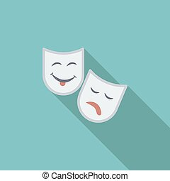 Theatrical mask icon Flat vector related icon with long...