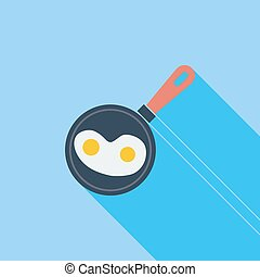 Scrambled eggs icon. Flat vector related icon with long...