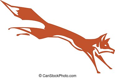 Running Fox - Woodcut simplified fox leaping to the right