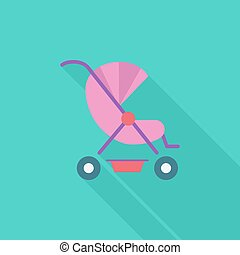 Pram icon Flat vector related icon with long shadow for web...