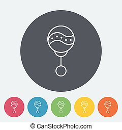 Rattle icon. Thin line flat vector related icon for web and...
