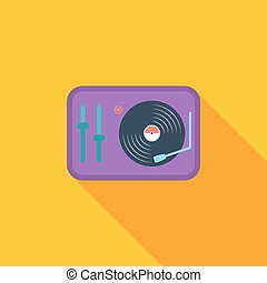 Turntable icon Flat vector related icon with long shadow for...