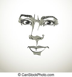 Vector portrait of irate woman, illustration of good-looking...