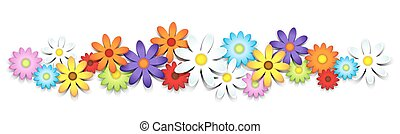 3D colorful daisy border complete