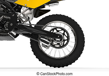 Yellow Dirt Bike Back Wheel