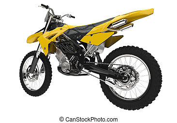 Yellow Dirt Bike - Back View