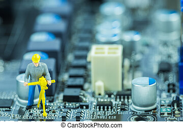 修理, 修理, 概念, 電腦, 電路, 母親, 板, 工程師