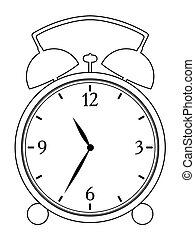 alarm clock - outline illustration of alarm clock