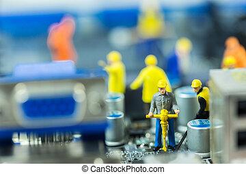 修理, 修理, 概念, 母親, 電腦, 電路, 隊, 板, 工程師