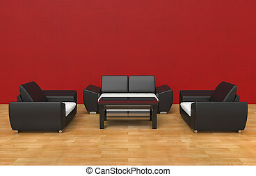Contemporary Living Room Red