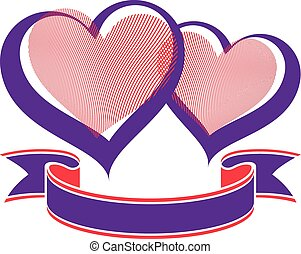 Valentine's day conceptual illustration – two loving hearts with decorative ribbon. Wedding couple romantic element, best for use in graphic design.