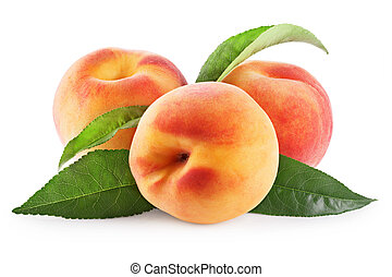 Peaches with leaves isolated on a white background