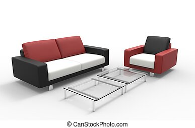Red Black And White Sofa