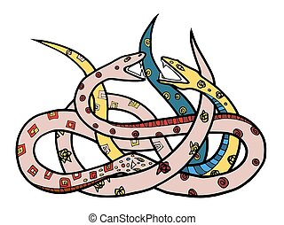 snakes - Two ornate snakes Hand drawn illustration with...