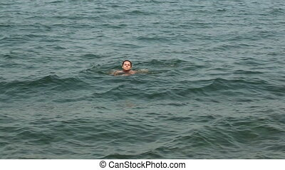Girl in sea - In Black sea on shores of beautiful girl