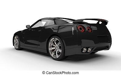 coche, negro, espalda, deportes
