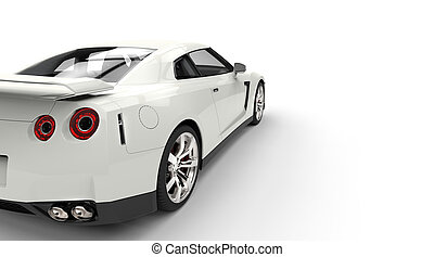 White Sports Car Back