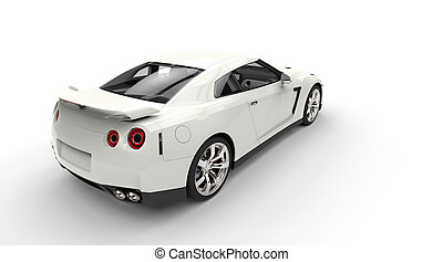 White Sports Car Top Back