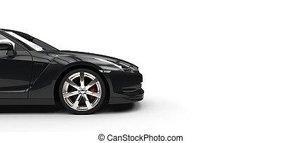 coche, negro, lado, deportes