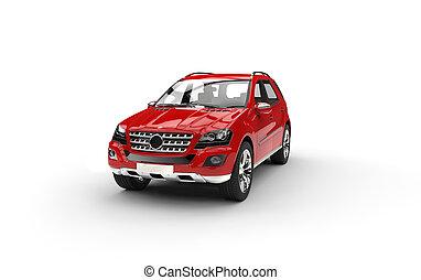 Red Luxury SUV Studio Shot