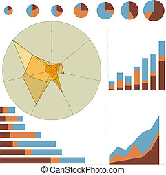 Business Chart Set - Variety of business charts isolated on...