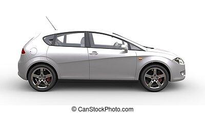 Metallic White Car