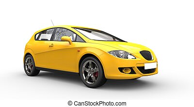 自動車, 黄色, 家族