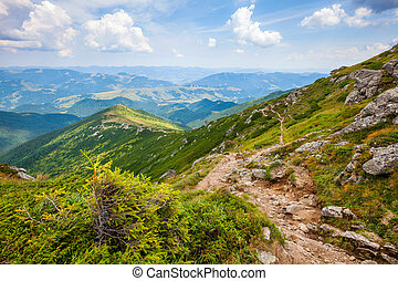 Landscape with mountain track and sky clouds - Landscape...