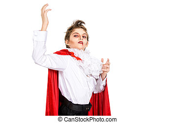 expressive vampire - Expressive teen boy in a costume of...