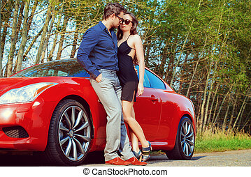 trip car - Beautiful couple near the car Beauty, fashion...