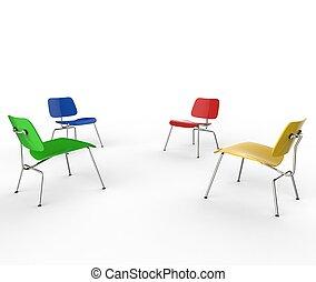 Quatro, cor, cadeiras