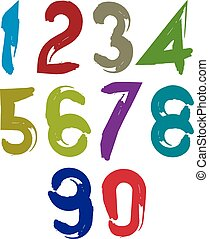 Colorful doodle brush numbers, hand-painted bright vector...