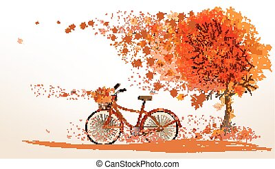 Autumn background with a tree and a bicycle. Vector.