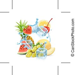 Multifruit with ice cubes and water splash, isolated on...
