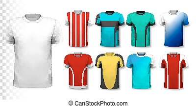 Set of colorful soccer jerseys The T-shirt is transparent...