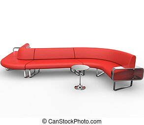 Red Curved Lounge Sofa