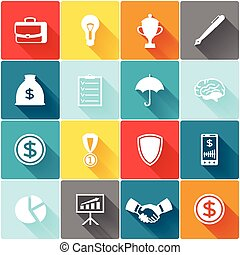 Set of business and finance flat icons.