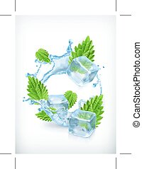 Mint with ice cubes and water splash, icon, isolated on...