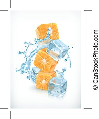 Orange cubes with ice and splashes, icons, isolated on white...
