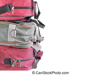 Stack of 3 luggage bags side view - Small nylon shoulder...