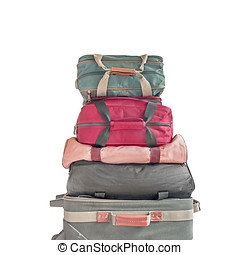 Pile of luggage - Stack of small cloth rolling suitcase and...