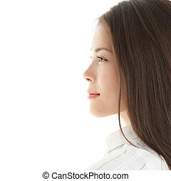 Profile woman portrait of a beautiful young woman Bright and...