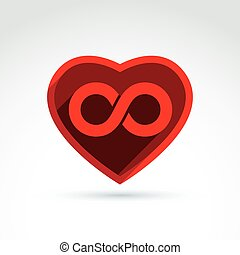 Forever love concept with heart and infinity symbol, vector...