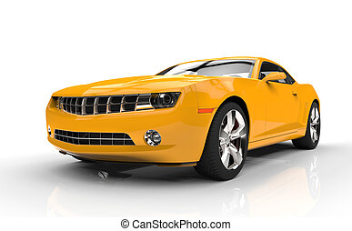 Yellow Fast Car On White Background