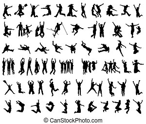 jumping - Black silhouettes of jumping, vector