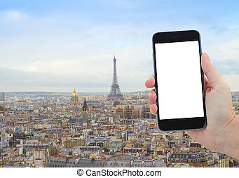 skyline of Paris with eiffel tower - travel concept with...