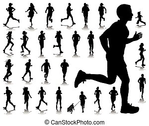 running - Silhouettes and shadows of running-vector