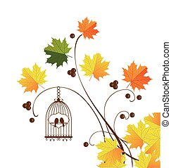 Bird Cage - illustration of a bird cage with autumn...