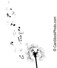 dandelion notes - dandelion with musical notes