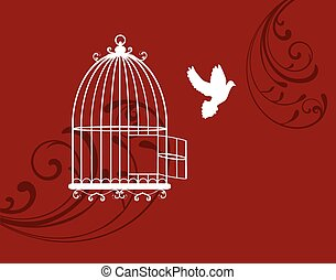 dove  - cage open with dove flying